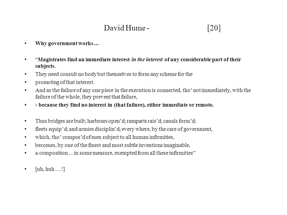 David Hume - [20] Why government works ...